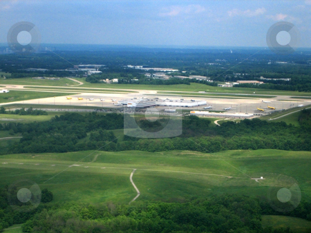 Airport aerial vies stock photo, Stock pictures of an aerial view of an airport by Albert Lozano