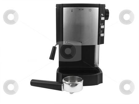 Espresso machine stock photo, Espresso machine on a white background with filter holder by John Teeter