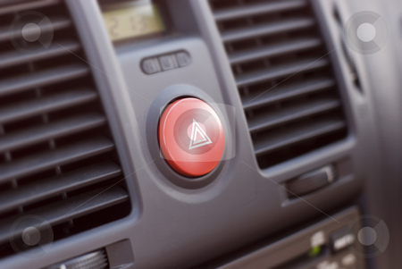 Car Dash stock photo, A car dashboard, narrow depth field focusing on the hazard-warning button by Stephen Gibson