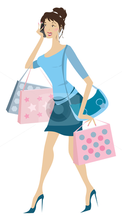 Busy woman stock vector clipart, Young busy woman holding shopping bags phoning by Vanda Grigorovic