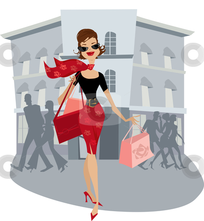 Shopping lady stock vector clipart, Happy lady after her shopping by Vanda Grigorovic