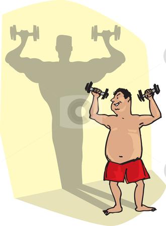 Man and his vision stock vector clipart, Man starts lifting weights, shadow shows his vision by Vanda Grigorovic