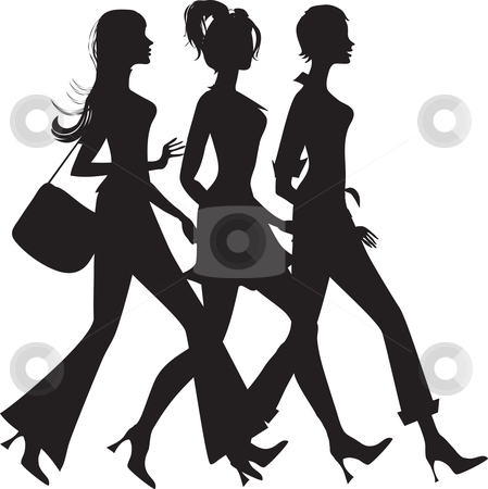 Silhouette of three girls stock vector clipart, Silhouette of three walking girls by Vanda Grigorovic