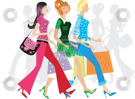 Girls shopping stock vector clipart, Three girls shopping by Vanda Grigorovic
