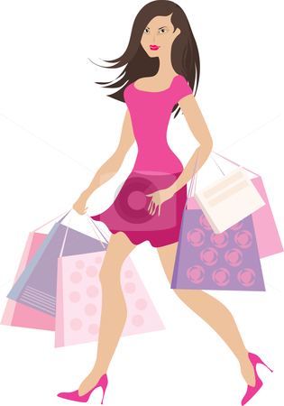 Shopping girl2 stock vector clipart, Girl with shopping bags by Vanda Grigorovic
