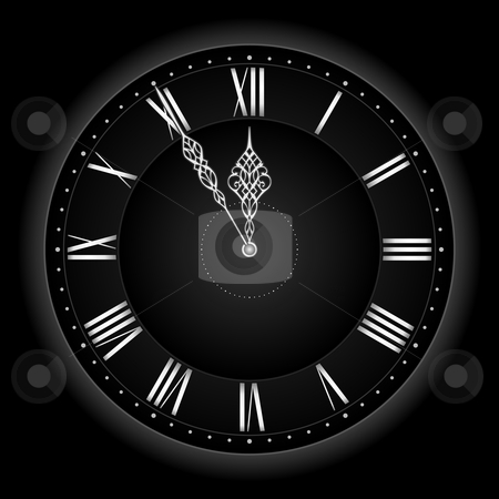 Stylish black silver vector clock. stock vector clipart, Five to twelve... or time's nearly up! Stylish and elegant vector clock with the hands at five to twelve. Global colors, linear gradient, blends. by Ina Wendrock