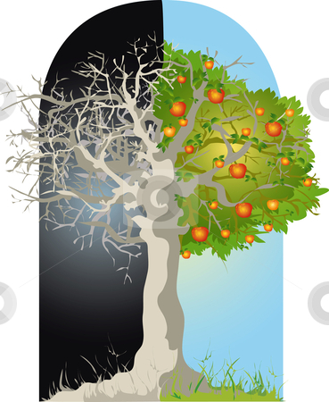 Tree stock vector clipart, Tree, dead and alive by Vanda Grigorovic