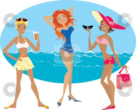 Beach girls stock vector clipart, Three girls enjoy time on the beach by Vanda Grigorovic