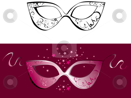 Domino mask stock vector clipart, Domino mask for new year party by Vanda Grigorovic