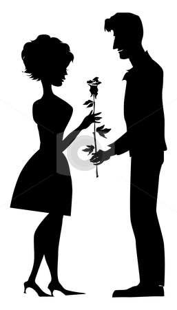 Silhouette of a couple stock vector clipart, Silhouette of a couple, man gives a rose to his girlfriend by Vanda Grigorovic