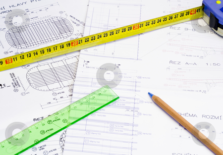 Design stock photo, A technical design with a pencil and a measure tape by Petr Koudelka