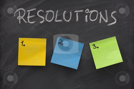 Blank list of resolutions on blackboard stock photo, List of resolutions on blackboard with three blank, numbered sticky notes by Marek Uliasz