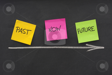 Past, present, future, time concept on blackboard stock photo, Time concept - past, present, future - colorful sticky notes on blackboard with white chalk arrow and eraser smudges by Marek Uliasz