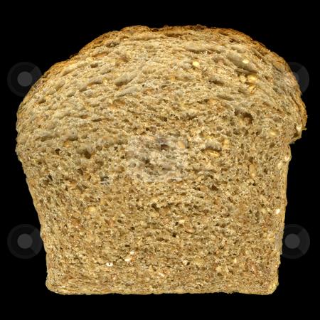 Slice of nine grain bread stock photo, Slice of nine grain bread (read and white wheat, barley, buckwheat, corn, flax, millet, oats, rye) isolated on black by Marek Uliasz