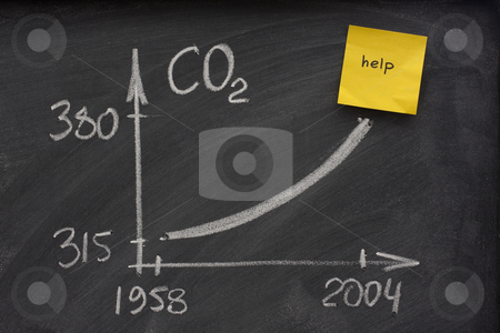 Growing concentration of carbon dioxide stock photo, Growing concentration of atmospheric carbon dioxide recorded at Mauna Loa observatory, Hawaii - rough representation with white chalk on school blackboard with yellow sticky note calling for help by Marek Uliasz