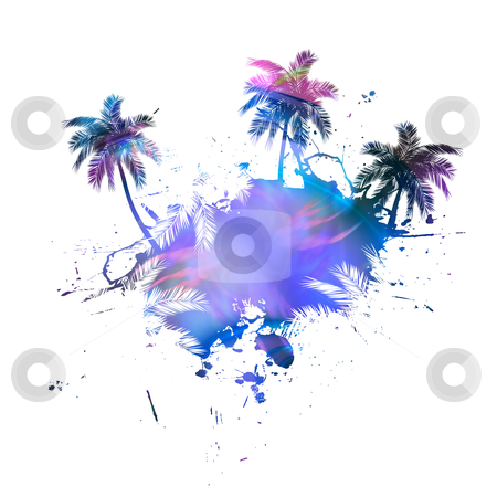 Palm Trees Grunge on white stock photo, Grungy tropical palm tree graphic with lots of splatter. by Todd Arena