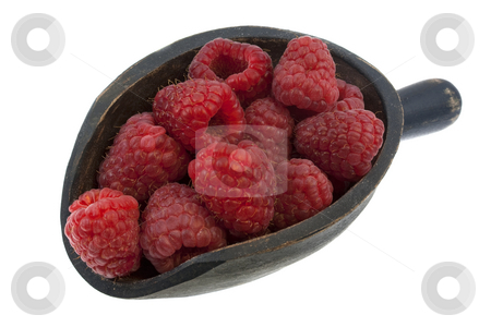 Scoop of fresh red raspberries stock photo, Fresh red raspberries on a rustic wooden scoop isolated on white by Marek Uliasz