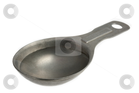 Tablespoon of water stock photo, Plain water on old, aluminum, measuring tablespoon isolated on white by Marek Uliasz