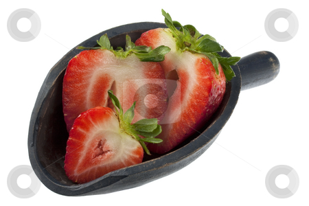 Scoop of sliced strawberries stock photo, Giant sliced strawberry on a rustic, wooden scoop, isolated on white by Marek Uliasz