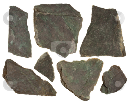 Pieces of slate rock with red and green tint stock photo, Small pieces of flat, gray, fine-grained, foliated slate rock, purple and green tint, sharp edges,  isolated on white by Marek Uliasz