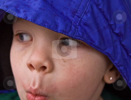 Mischievous Expression of 4 Year Old Boy stock photo, Mischievous expression of 4 year old boy, looking like he might be caught for doing something wrong.  Caucasian child with blue eyes and some freckles wearing a blue hat. by Valerie Garner