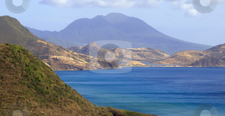 View of Nevis across the bay from St. Kitts stock photo, View ofnthe island of Nevis across the bay from St. Kitts by Jill Reid