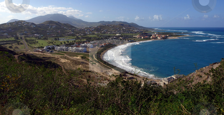 View of Frigate Bay on St. Kitts stock photo, View of Frigate Bay and hills of St. Kitts by Jill Reid