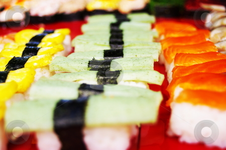 Sushi stock photo, Colorful rows of sushi delecacies by Martin Darley