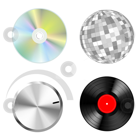 Music set stock vector clipart, Audio vector objects: discs button and disco ball by Laurent Renault