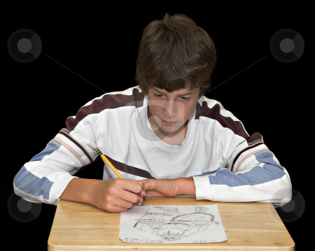 Boy Drawing Picture stock photo, An artistic young man drawing a picture by Stephen Bonk