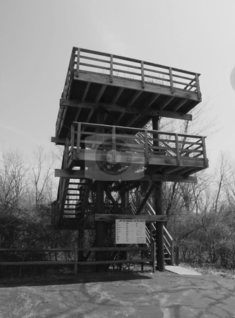 Bird Watching Tower stock photo, Man made wooden Bird Watching Tower in Metzger's Marsh. Metzger's Marsh is a well known Lake Erie / Black Swamp wildlife area.  People from all over come here to watch and photograph raptors, water fowl, etc. by Dazz Lee Photography
