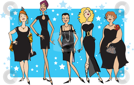 Black dress party stock vector clipart, Five ladies in black dresses by Vanda Grigorovic
