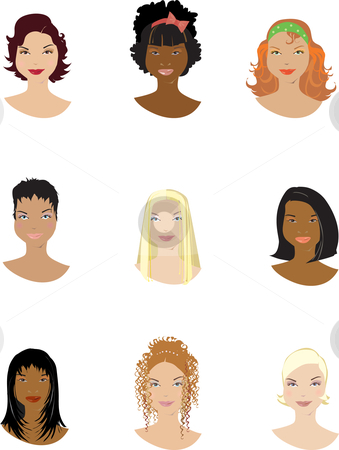 Hairstyle stock vector clipart, Examples of hairstyle for woman by Vanda Grigorovic