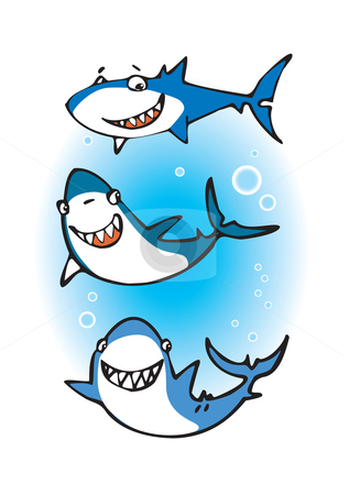 Three happy sharks stock vector clipart, Cartoon of three funny sharks by Vanda Grigorovic
