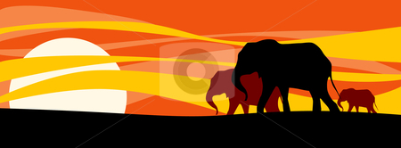 Elephants family stock vector clipart, Elephant's family going to rest at sunset by Vanda Grigorovic