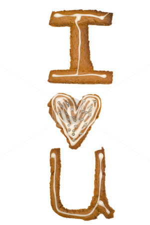 I Love U stock photo, Cookies cut out into shapes that spell i love u, isolated against a white background by Richard Nelson