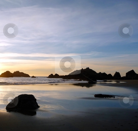 Coastal water reflections at sunset on Oregon beach 244A stock photo, Coastal water reflections on a rocky beach at sunset in Oregon by Jill Reid