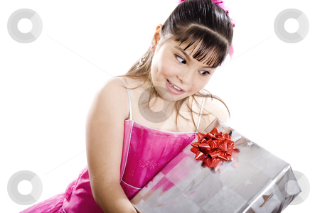 Hope I got toys this time! stock photo, Studio shot of endearing girl with gift wearing fancy dress - Isolated on white by iodrakon