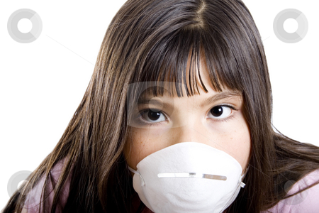 Allergy girl stock photo, Studio shot of girl wearing a particle mask - isolated on white by iodrakon