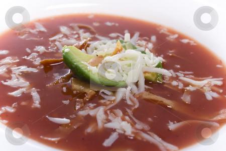 Tortilla Soup stock photo, Close up of bowl of southwestern/mexican dish tortilla soup by iodrakon