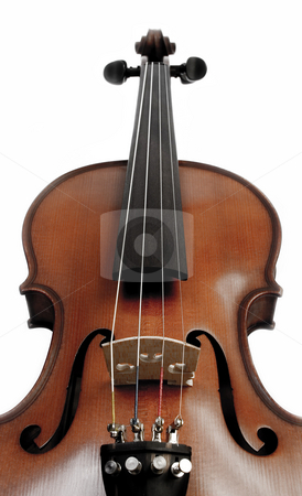 Violin over white stock photo, Perspective Medium shot of Violin over white background by iodrakon