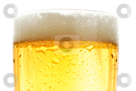 Close up of beer pint stock photo, Close up of beer pint, gold crisp color by iodrakon
