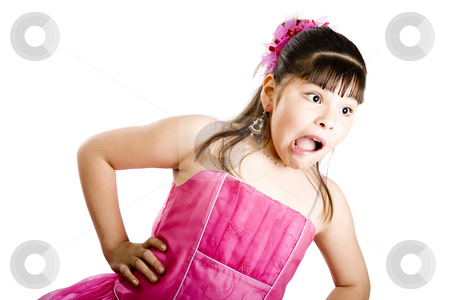 You said what?!? stock photo, Studio shot of surprised girl wearing fancy dress - Isolated on white by iodrakon