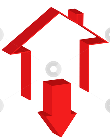 Downtrend of the real estate market stock photo, Icon representing the downtrend of the real estate market by iodrakon
