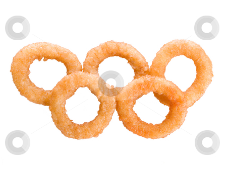 Onion Rings stock photo, Closeup of Onion rings isolated on white by iodrakon