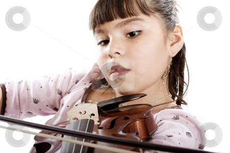 Young Violin Student stock photo, Shot of girl playing violin - isolated on white by iodrakon