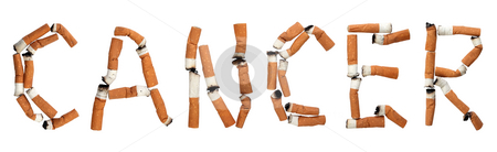 Cancer! stock photo, Word cancer made out of cigarette butts, isolated on white by iodrakon
