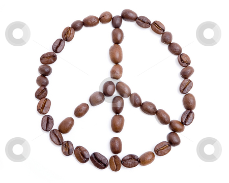 Peace symbol made of coffee beans stock photo, Peace symbol made of coffee beans over white background by iodrakon