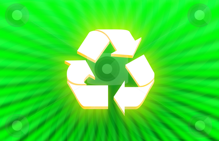 3d Recycle symbol stock photo, 3d Recycle symbol on abstract green background by iodrakon