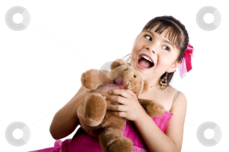 You're so cute!!! stock photo, Studio shot of endearing girl with teddy bear wearing fancy dress - Isolated on white by iodrakon